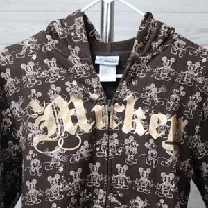 Disney Gold Foil Mickey Zip Front Sweatshirt